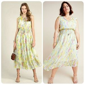 NWT Anthropologie Watercolor Yellow Maxi Dress